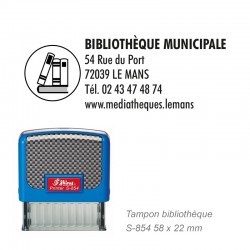 Tampon adresse + Logo BIBLIOTHEQUE